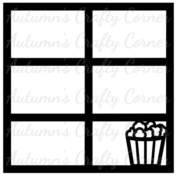 Popcorn - 6 Frames - Scrapbook Page Overlay Die Cut - Choose a Color