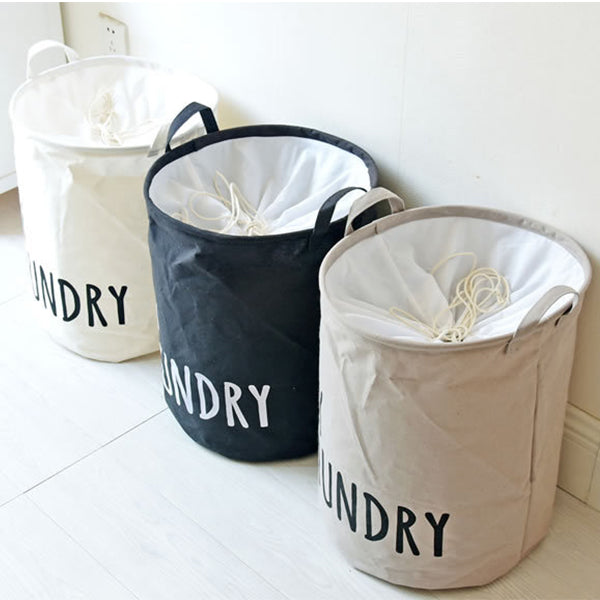 Cylindric Storage Basket with Drawstring Cover