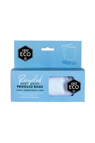 Reusable produce bags RPET mesh 4 pack storage pouch
