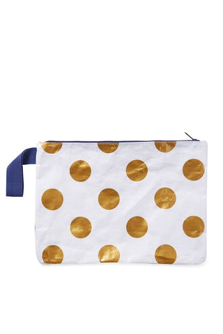 Zip Pouch- Gold Polka Dots