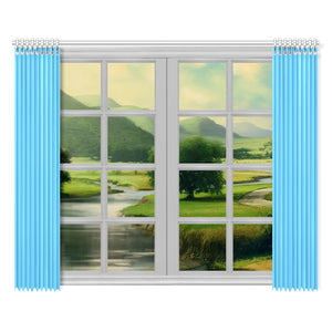 "Color Collection Cyan 2-panel Window Curtain Set 52""x84"""