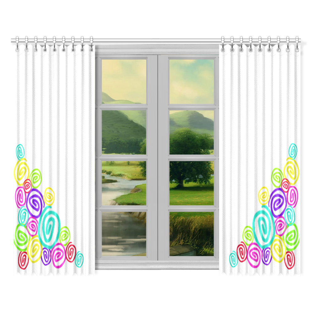 "Color Collection Curly-Q 2-panel Window Curtain Set 52""x84"""