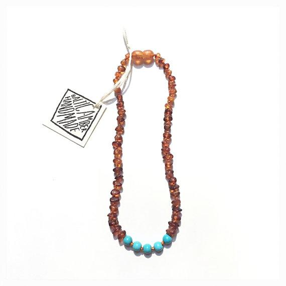 Raw Cognac Amber + Turquoise Howlite