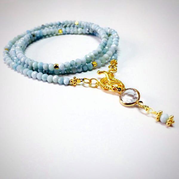 Larimar Long Beaded Necklace right