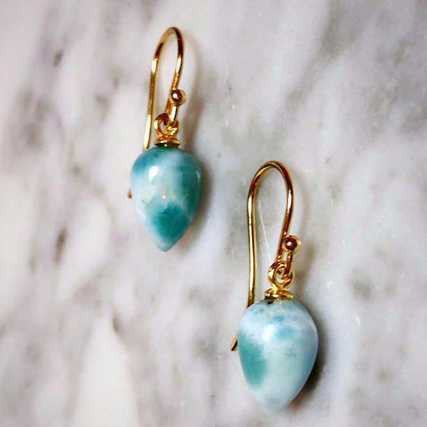 Larimar Acorn Earrings
