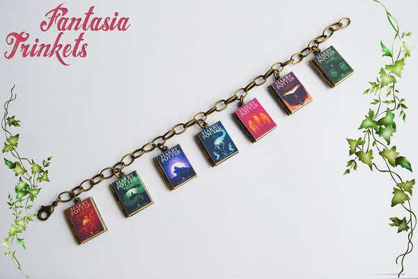 Harry Potter Series Book Locket Charm Bracelet (6 different editions to choose + quotes inside)