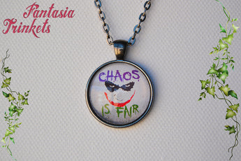 Chaos is Fair Quote Photo Glass Pendant Necklace - Heath Ledger Joker Supervillain inspired