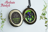 Maleficent - Black and Purple Handpainted Large Locket with Dragon inside - Fantasy Jewelry