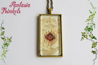 Marauder's Map Photo Glass Pendant Necklace - Harry Potter Jewelry