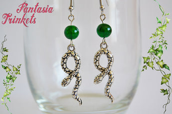 Slytherin Earrings - Silver Snake and Green Glass Bead Dangle Earrings - Harry Potter Jewelry