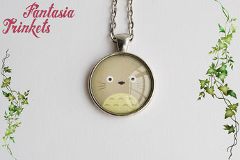 Totoro Face Photo Glass Pendant Necklace - Ghibli Jewelry