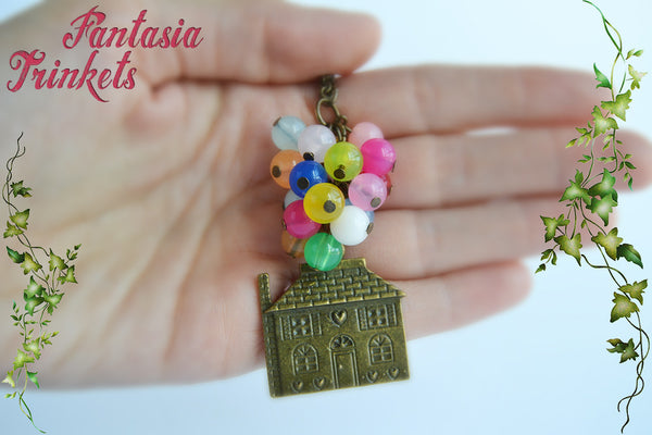 Adventure is out there! Up Flying House with Colorful Balloons - Keychain or Pendant Necklace