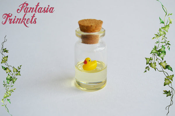 Tiny Rubber Duck Floating in Water inside a Glass Bottle - Charm, Keychain or Pendant Necklace