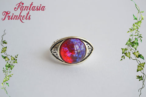 Dragon's Breath Ring - Czech Glass Mexican Fire Opal 15mm Round Cabochon - Antique Silver Adjustable Unisex Eye Ring - Medieval Fantasy