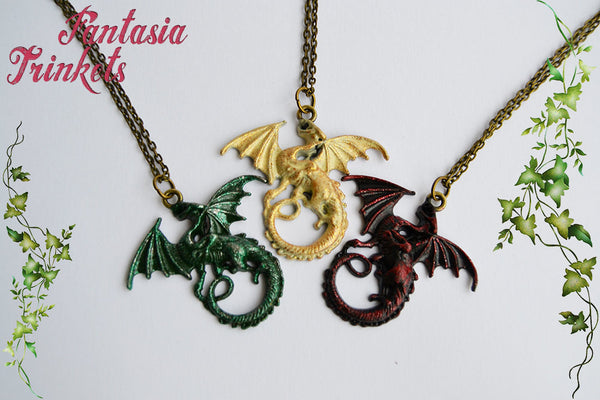 Drogon Viserion Rhaegal Handpainted Dragon Pendant Necklace - Game of Thrones Jewelry