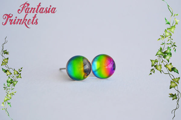 Rainbow Crystal Ball Earrings - Color Shifting Effect Studs