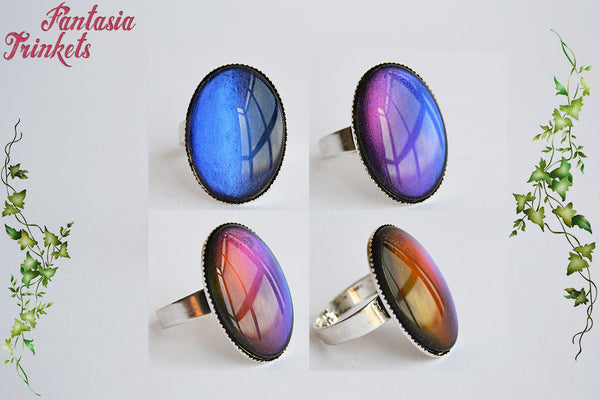 Color Shifting (blue purple pink orange) Multichrome Ring - Handpainted Glass Cabochon on an Adjustable Ring