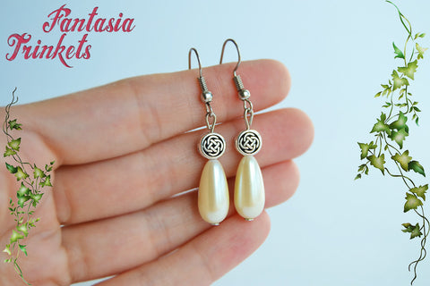Delicate Pearl Drops and Silver Celtic Knots Hook Earrings - Outlander Jewelry