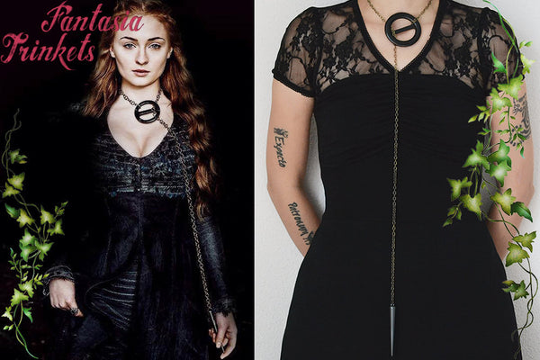 Sansa Stark Big Black Buckle Lariat Necklace - Game of Thrones Cosplay Jewelry