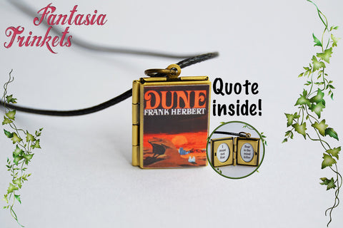 Frank Herbert's Dune Miniature Book Locket (quote inside) Charm, Keychain or Pendant Necklace