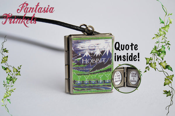 Tolkien's The Hobbit Miniature Book Locket (custom quote inside) Charm, Keychain or Pendant Necklace