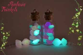 Glow in the Dark Moon Rocks in a Glass Bottle Pendant Necklace