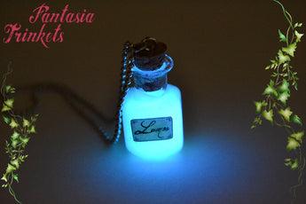 Glow in the Dark Lumos Magic Potion Glass Bottle Charm Pendant Necklace or Earrings - Harry Potter Jewelry