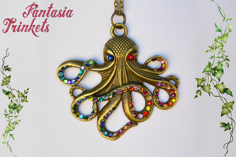 Bronze Octopus with Rhinestones Pendant Necklace - Choose Blue or Red - Steampunk Nature Jewelry