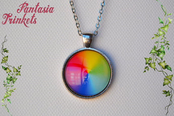 Color Wheel Rainbow Photo Glass Pendant Necklace