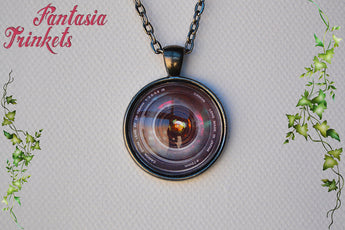 Camera Lens Photo Glass Pendant Necklace - Photography Lover Statement Jewelry