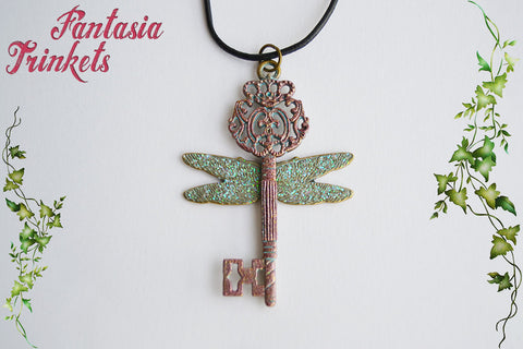 Flying Key - Vintage Key with Iridescent Wings - Handpainted Pendant Necklace - Harry Potter Jewelry