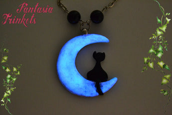 Glow in the Dark Moon and Black Cat Handpainted Pendant Necklace