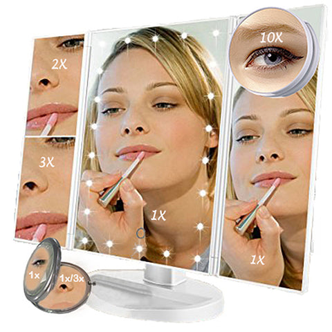 Image of Trifold Vanity Mirror - 22 LED Countertop or Portable Travel Cosmetic Lighted Makeup Mirror w/ On Off and Brightness Control Touch Screen 1x/2x/3x/10X Magnification - Dual Power Supply
