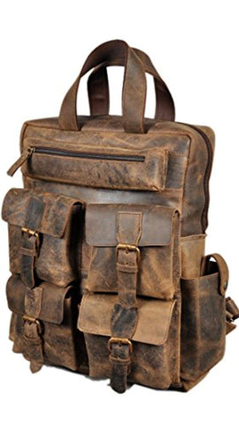 "Image of 18"" Leather Backpack for men/women Brown Leather Laptop Backpack"
