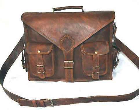 Handmade 18 Inch Vintage Handmade Leather Messenger Bag for Laptop Briefcase Satchel Bag