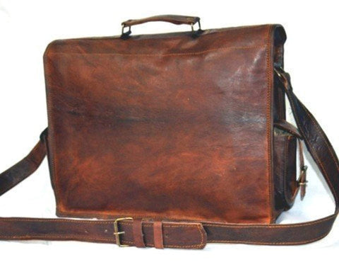 Image of Handmade 18 Inch Vintage Handmade Leather Messenger Bag for Laptop Briefcase Satchel Bag