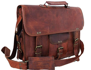 Handmade Leather Unisex Real Leather Messenger Bag for Laptop Briefcase
