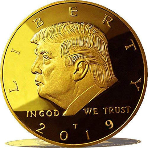 Image of 2019 Donald Trump Replica Gold Piece, 45th Presidential Edition 24kt Gold Plated Commemorative Medallion & Display Case eTradewinds (1-Pack 2019 Gift Box & Certificate)