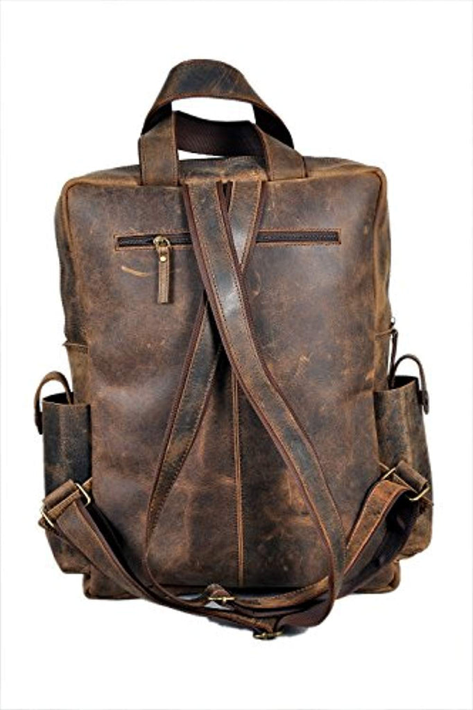 "18"" Leather Backpack for men/women Brown Leather Laptop Backpack"