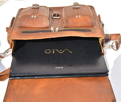Image of Handmade 16 Inch Leather Messenger Bag Shoulder Men Laptop Briefcase Vintage Satchel