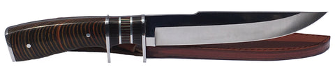 eT Gentleman's Hunting Knife w/ Leather Sheath, Pakkawood Handle, & Razor Sharp 420 SS Rust Free Full Tang Fixed Blade