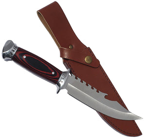 eT USA Combat Bowie Hunting Knife w/ Leather Sheath, Pakkawood Handle, & Razor Sharp 420 SS Rust Free Full Tang Fixed Blade