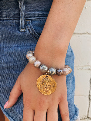 Coated Sunstone Bracelet // Tibetan Charm