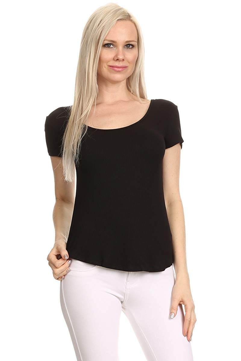 Ambiance Apparel Classic Short Sleeve Stretchy Scoop Neck Shirt