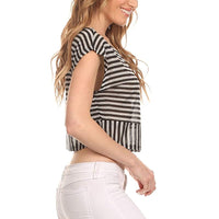 Ambiance Apparel Women's Junior Cap Sleeve Striped Crop Top