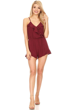 Ambiance Apparel Women's Junior Spaghetti Strap Burgundy Relaxed Romper
