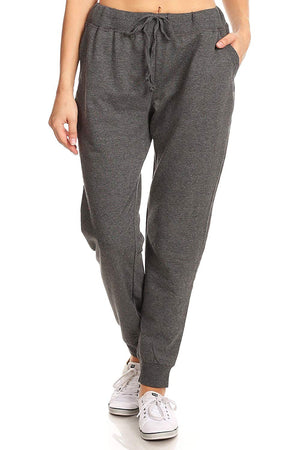 Ambiance Apparel Women's Full Length Relaxed Drawstring Jogging Pants (Large, Charcoal)