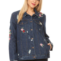 Wax Jean Women's Button Down Floral Jean Denim Jacket
