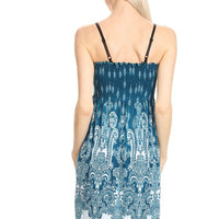 Blue Sleeveless Ornate Paisley A-Line Dress
