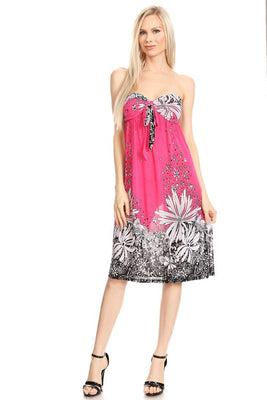 Strapless Floral A-Line Print Dress